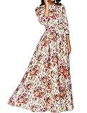 Simple Flavor Women's 3/4 Sleeve Floral Print Vintage Maxi...