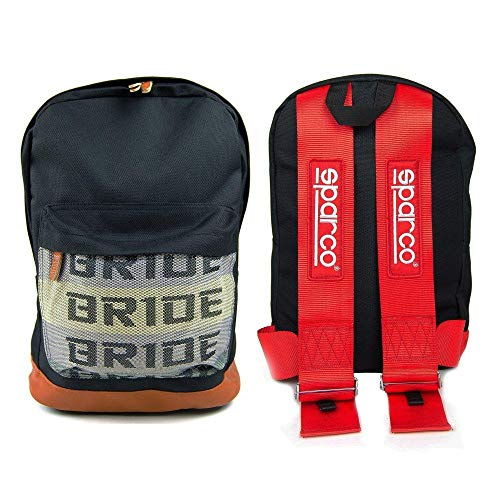 Bride Backpack JDM Racing Harness Straps - Drifting Tuner Accessories - Motorsport Bag Laptop Compartment Full Canvas Red