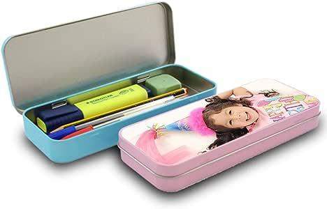 Estuche metálico personalizada con tus Fotos y Texto | Estuche escolar aluminio | Impresión Total sin bordes blancos | Color rosa: Amazon.es: Oficina y papelería