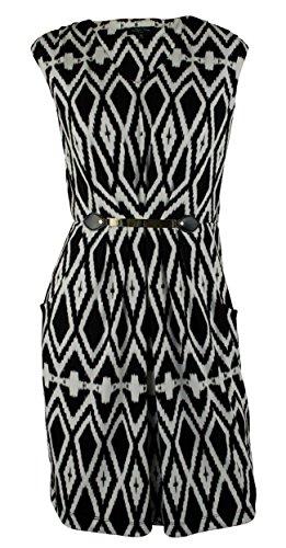 - Tahari by ASL Women's Belted Geo Print Jersey Sheath Dress-BW-8 Black-White