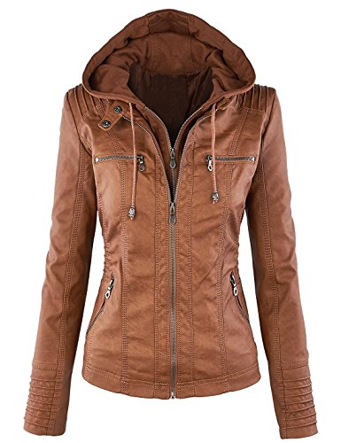 (Springrain Women's Casual Stand Collar Detachable Hood PU Leather Jacket (Large, Brown))