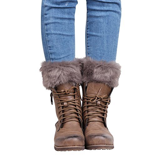 Womens Cable Knit Leg Warmers Fashion for Boots, Dark Grey, One Size ()