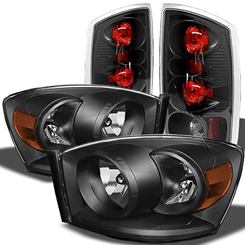 (Xtune for 2006 Dodge Ram 1500/2500/3500 Black Headlights + Altezza Style Tail Lights Lamps Combo)