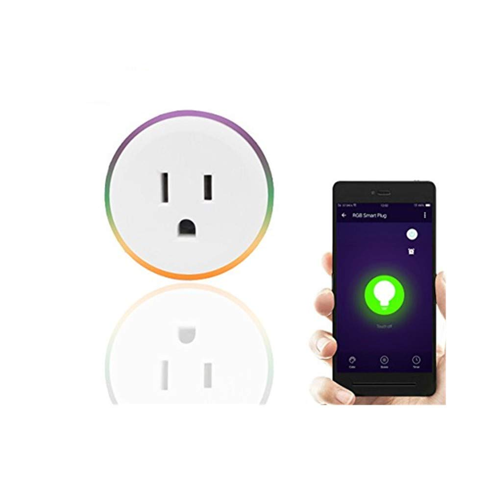 Smart Plug LED Compatible with Amazon Alexa - Knaclean Mini Wi-Fi Socket Night Light Outlet Remote Control with Timing Function& Dimmable Colorful LED Plug-In Sensor Light Work with Google Home