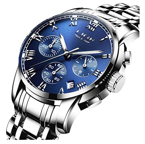Fashion Sport Military Full Steel Business Date Waterproof Multifunction Chronograph Quartz Men Watch (Silver Blue) (Fashion Mens Silver)