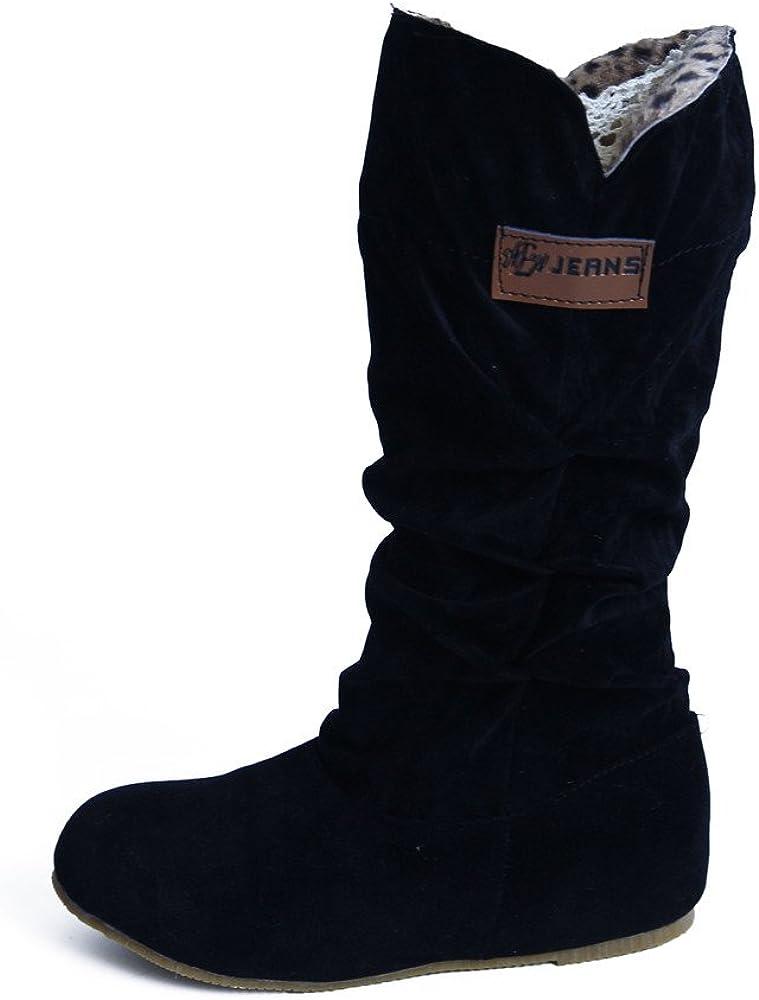 Botas Alto Invierno Mujeres, LANSKIRT Mujer Botas Altas hasta la Rodilla Bota de Tacón Plano Zapatos de Otoño Invierno Zapatos Planos