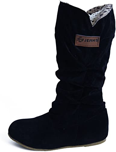 Women/'s Winter Warm Faux Suede Snow Boots Ladies Lace Up Warm Knee High Boots Sz
