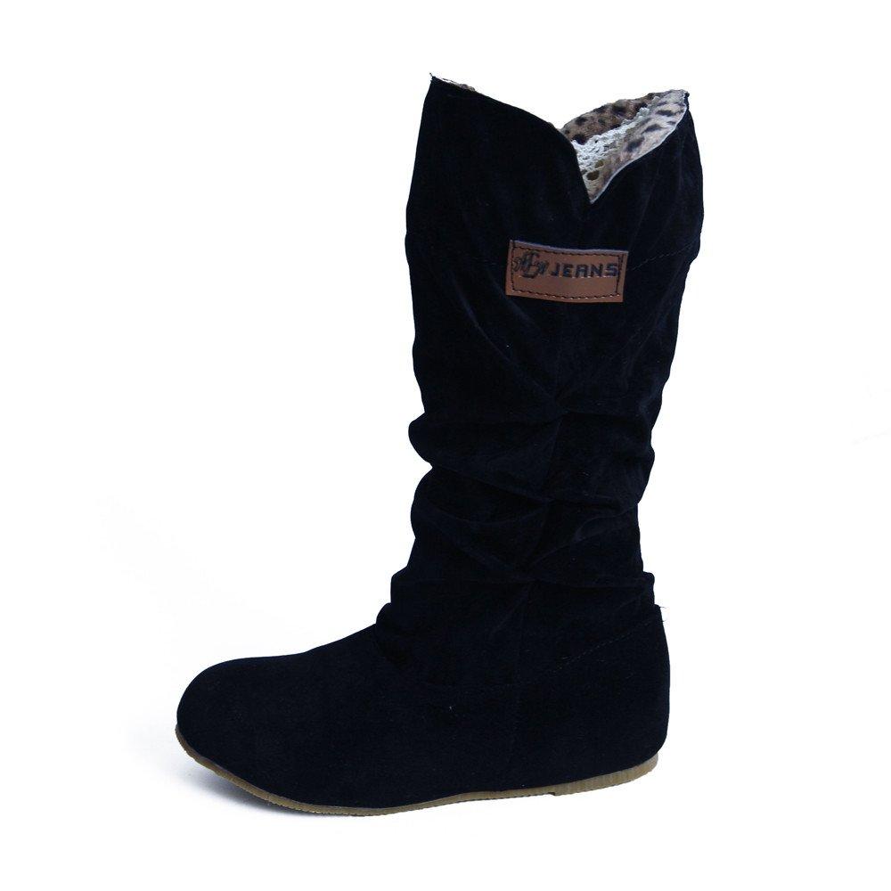 Sunnyuk Botas de Mujer, Zapatos para Mujer Botas de cañ a Alta Taló n Plano Botas de Moto Nubuck Otoñ o Invierno Zapatos Zapatos para Mujer Botas de caña Alta Talón Plano Botas de Moto Nubuck Otoño Invierno Zapatos