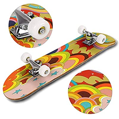 Classic Concave Skateboard Psychedelic Poster 1960's Hippie Style Vintage Colors Longboard Maple Deck Extreme Sports and Outdoors Double Kick Trick for Beginners and Professionals : Sports & Outdoors