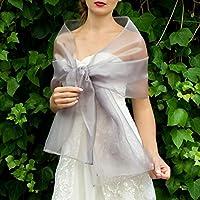 Organza silver grey stole wrap shawl evening dress accessory