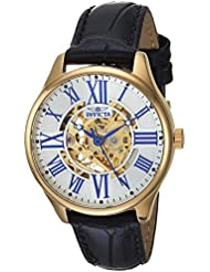 Invicta Womens Vintage Automatic Stainless Steel and Leather Casual Watch, Color:Black (Model: 23659)