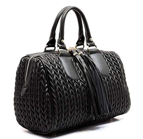 (Handbag Republic Quilted/Braided Effect, Boston Satchel w/Fringe Pulls + Strap- Large+ (Black))