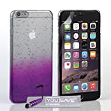 Yousave Accessories iPhone 6 Plus Case Purple / Clear Raindrop Hard Cover With Mini Stylus Pen