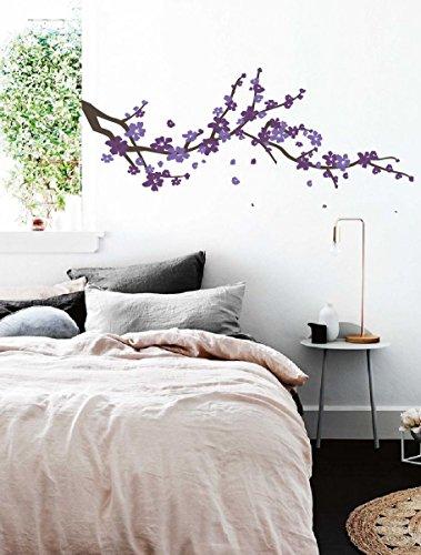 01 Wall Sticker - Large Japanese Cherry Blossom Tree Branch Vinyl Decal Wall Sticker for Girls Flowery Room Decor (Brown, Purple, Lavender, 19x48 inches)