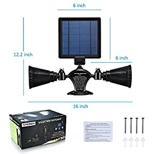 Solar Lights Outdoor, OPERNEE Waterproof Double Spotlights Wireless Solar Powered 360-Degree Rotatable Security Light-Sensing Wall Lamps for Patio Porch Deck Yard Garden Garage Driveway Outsides Wall