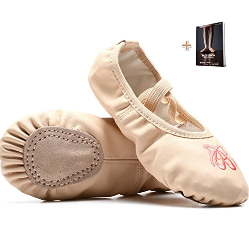 Dubeebaby Girls Leather Ballet Shoes Slippers,Split Sole Flats for Toddlers Nude