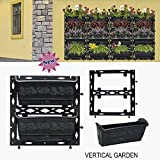 BIO BLOOMS Vertical Garden Big Size bio Wall Planters M3 Model 8 Panels and 16 pots (Black)