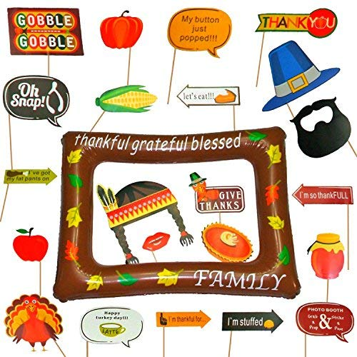 (Thanksgiving Photo Booth Props with Inflatable Picture Frame Included - NO DIY Required Attached to The Stick - Funny Turkey Day Decorations - 27)