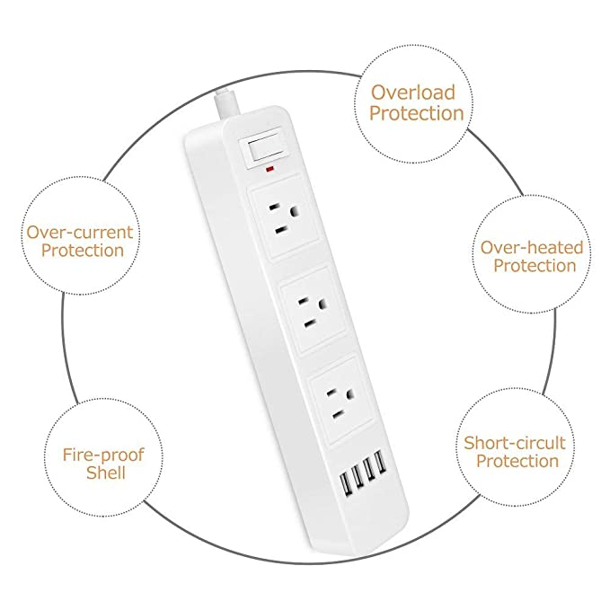 Amazon Com Elinker 3 Outlet Power Strip With 4 Usb Charging Ports