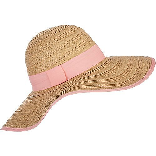 Collection Xiix Mixed Braid Straw Floppy Hat with Pink (Pink Ribbon Hats)