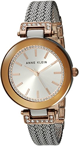 Anne Klein Women's Swarovski Crystal Accented Rose Gold-Tone and Silver-Tone Mesh Bracelet Watch