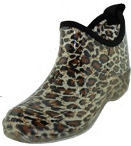 (sh18es Shoes8teen Womens Short Rain Boots Prints & Solids (8, 1118 Leopard Blk))