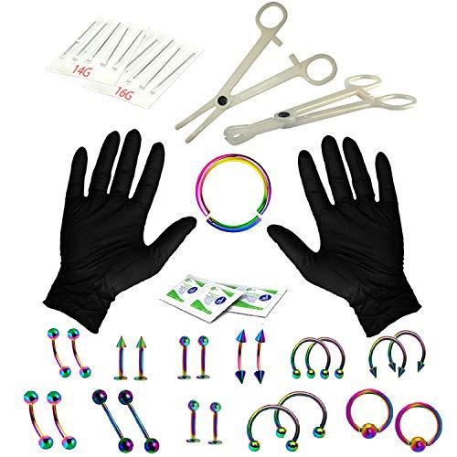 BodyJ4You 36PC PRO Piercing Kit Rainbow 14G 16G Segment Nose Ring Septum Tongue Belly Jewelry (Kit Piercing Monroe)