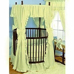 Baby Doll Bedding Carnation Eyelet Round Crib Bedding Set, Ecru