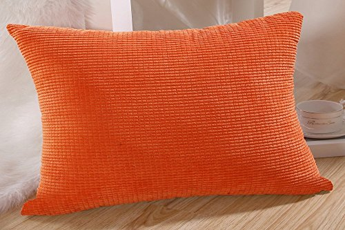 MochoHome Corduroy Decorative Solid Rectangular Throw Pillow