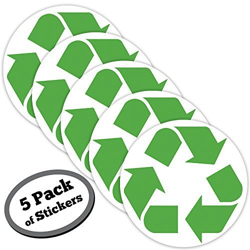 (5 pack LARGE recycle symbol sticker for green, white, blue, recycling bins & containers for recycled plastic, paper, cardboard, trash, glass, bottles, aluminum cans and newspaper recyclables.)