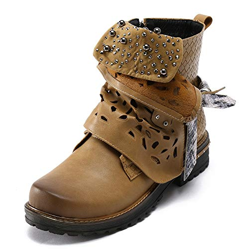 Cerniera Autunno Da Donna Stivaletti Stivali Laterale Marrone Cowgirl Per Con Scarpe Stivale Pelle Casual In Piatto Boots Inverno Moda Elecenty UqExSEO