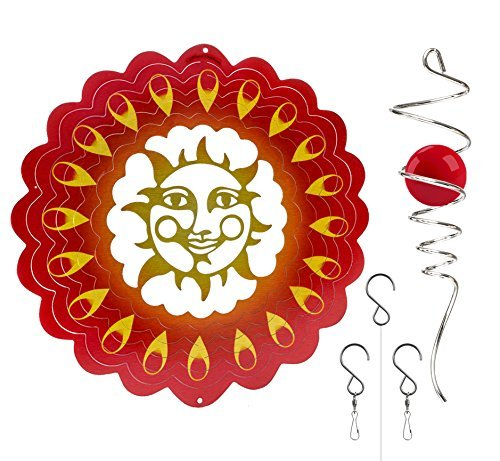 UpBlend Outdoors Hanging Metal 3D Wind Spinner - in Sunrise Red with Helix Spiral Tail and Glass Ball - All Swivels and Hooks are Included - Kinetic Whirligig Garden Sculpture for Garden or Yard