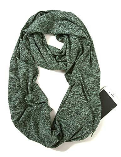 Elzama Infinity Loop Melange Green Color Scarf with Hidden Zipper Pocket for Women - Travel Neck Wrap
