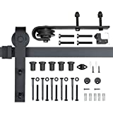 POWERTEC BDR1001 6-Foot Heavy Duty Barn Door Hardware Kit, Black, 100,000 Rolls Tested, One-Piece Rail