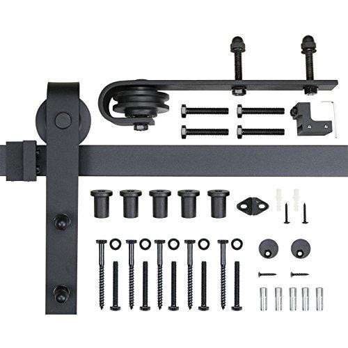 POWERTEC BDR1001 6-Foot Heavy Duty Barn Door Hardware Kit, Black, 100,000 Rolls Tested, One-Piece Rail (Heavy Duty Sliding Door Hardware)