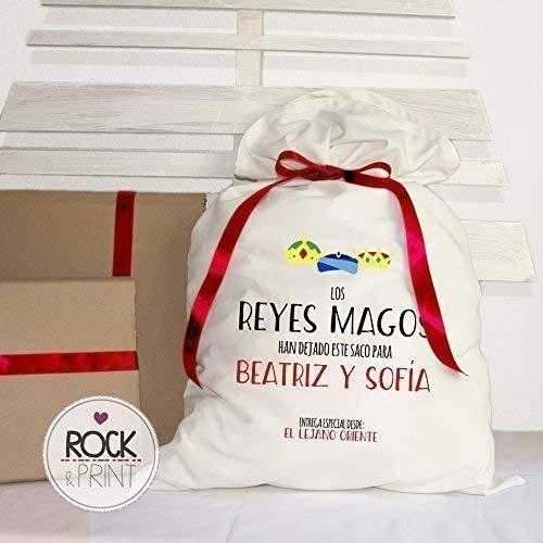 Saco regalos Navidad. Personalizado Hermanos. 50x80 cm. Elige el color del diseño. Decoración Árbol Reyes Magos