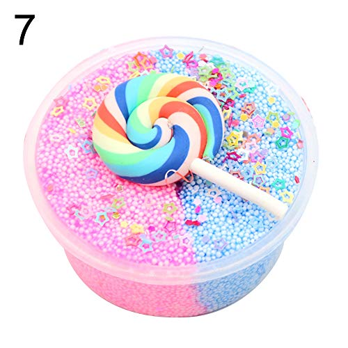 (Kids Adult Stress Reliever, Lollipop Star Fluffy Slime Putty Mud Clay Plasticine Sludge Toy - 7#)
