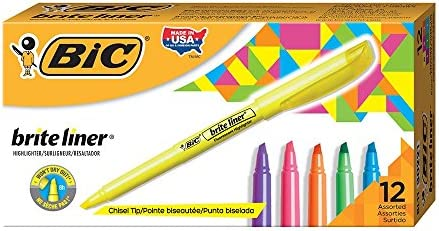 BIC Highlighter Chisel Assorted 12 Count