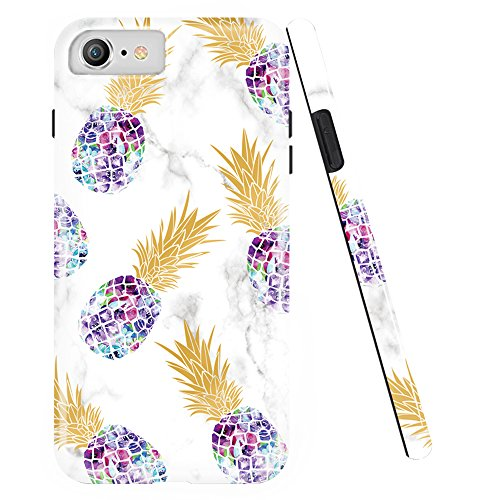 iPhone 7 Case,iPhone 8 Case,DOUJIAZ Shiny Marble Design Clear Bumper TPU Soft Case Rubber Silicone Skin Cover for iPhone 7(2016)/iPhone 8(2017)- Multiple Purple Pineapple