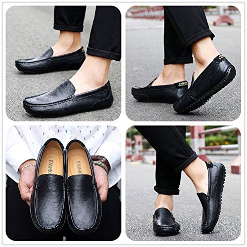 Ligeros On Hombre Zapatos LANSEYAOJI Loafers Moda Zapatos Zapatos Zapatos Cuero Zapatos de para de Mocasines Negocios Casual Cómodos Conducción Negro de Slip Planos Caminar PAq5Anwrax