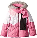 London Fog Girls' Big Color Blocked Puffer Jacket Coat with Scarf, Fusion Pink, 10/12