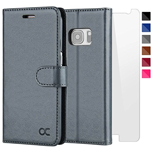 OCASE Samsung Galaxy S7 Case [Screen Protector Included] Leather Flip Wallet Case for Samsung Galaxy S7 - Gray by OCASE