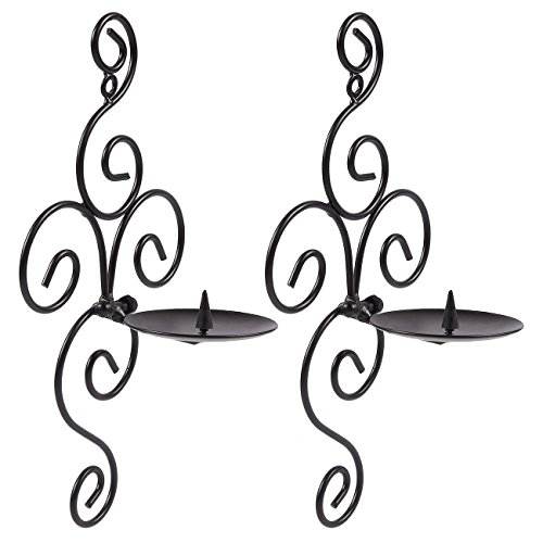 Juvale Pack of 2 Wall Candle Holder Set - Swirling Theme Sconce - Modern Decorfor Home, Kitchen, Weddings, Spas, Events, 5.4 x 11 x 4 inches, Black by Juvale