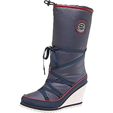 9bcc4aa5708a Lacoste Aubina Womens Slip On Textile Wedge Snow Boots Blue - 8   Amazon.co.uk  Shoes   Bags