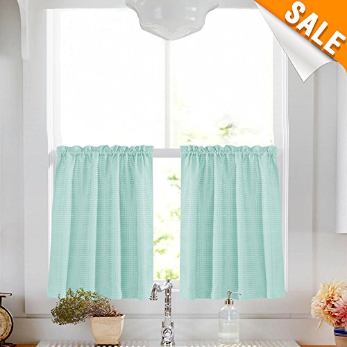 Light Teal Short Aqua Curtains for Kitchen 36 inch Length Water Repellent Window Curtain Set for Bathroom Waffle Weave Textured Café Curtain Window Tiers 1 Pair ()