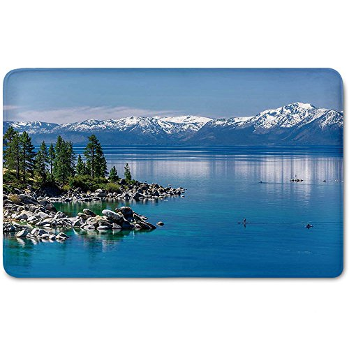 ,Landscape,Blue Waters of Lake Tahoe Snowy Mountains Pine Trees Rocks Relax ShorePlush Wanderlust Bathroom Decor Mat Rug Carpet with Anti-Slip Backing,Light Blue Green Grey ()