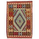 Ecarpetgallery Hand-woven Kashkoli Kilim Geometric 3' x 4' Blue 100% Wool area rug