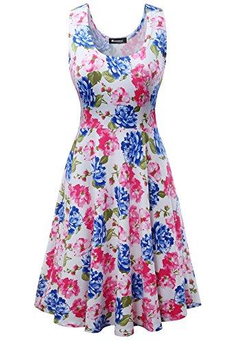 pour Fleur sans Vintage D't Coupe Robe Fleur Manche Simple Femme Mini AwSq1ZOfZ