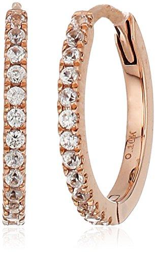 10k Rose Gold White Zircon Small Hoop Earrings - 10k Zircon Earrings