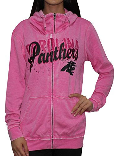 Womens CAROLINA PANTHERS Athletic Zip-Up Jacket (Vintage Look) M Pink